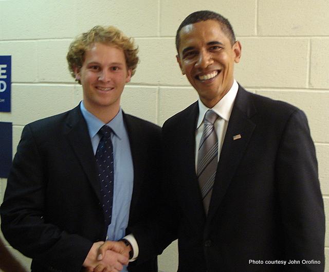 Orofino shaking Obama's hand before a Virginia rally