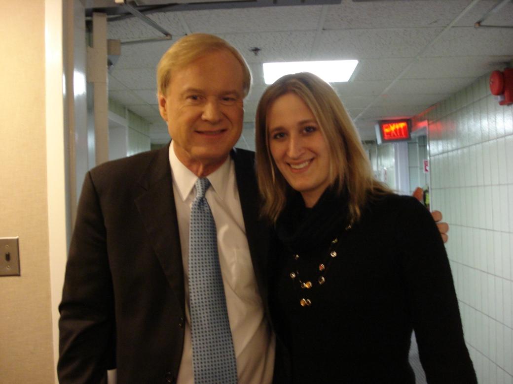 Journalism WS student, Jade Taenzler, met Hardball's host, Chris Matthews, at her internship with NBC News, political unit.