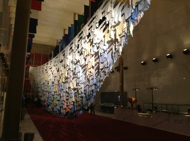 One of Finland's leading artists, Kaarina Kaikkonen uses a thousand dress shirts donated by people from the DC area to construct a large-scale, site-specific hanging installation that takes the shape of a boat.