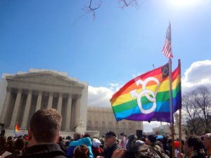 The Tenley Times reporters' view of the steps of the Supreme Court on the day of the DOMA hearing