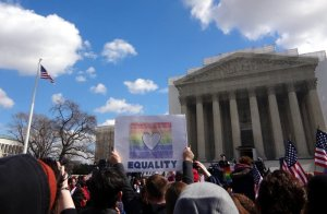 View of the Supreme Court and the citizens anxious to find out about the DOMA hearing