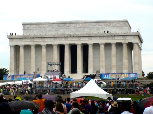 The Tenley Times reporters' view of the Lincoln Memorial on the 50th Anniversary of the March on Washington © Lilly Maier