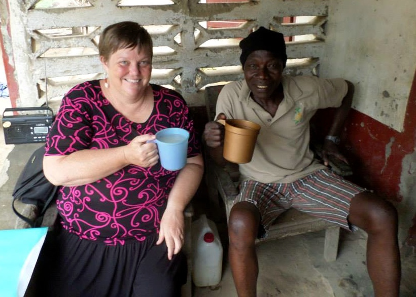 Susan Shepler and a friend, Sierra Leone, April 2014